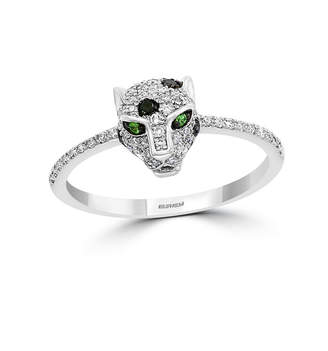 Effy Diamond (1/4 ct. t.w.) Signature Panther Ring in Sterling Silver