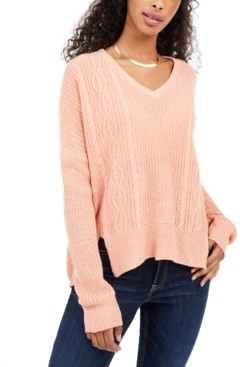 No Comment Juniors' V-Neck Cable-Knit Sweater
