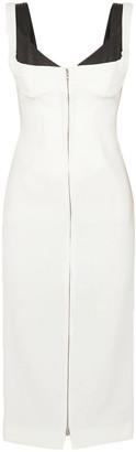 Thierry Mugler Two-tone Layered Crepe Midi Dress