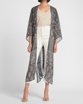 Express Metallic Paisley Kimono Cover-Up