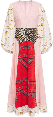 Ganni Paneled Printed Cotton-poplin Maxi Dress