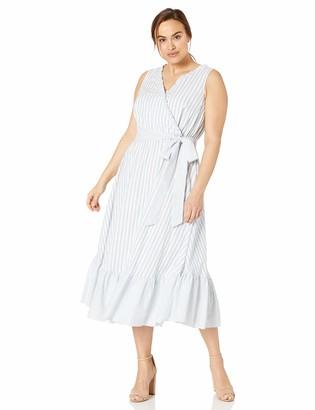 Gabby Skye Women's Plus Size Sleeveless V-Neck Stripe Cotton Dress