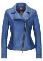 HUGO BOSS Jamela Sheepskin Leather Moto Jacket 4 Blue