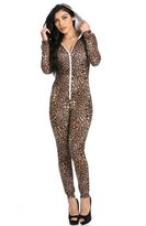 2Chique Boutique Women's Leopard Print Onesie with Hoodie