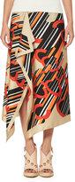 Carven Asymmetric Printed Silk Satin Midi Skirt