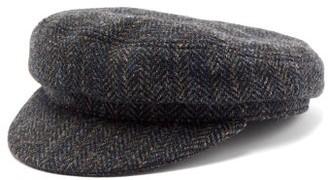 Isabel Marant Evie Herringbone Wool Baker Boy Hat - Womens - Grey
