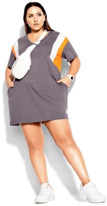 City Chic Stripe Charm Dress - granite