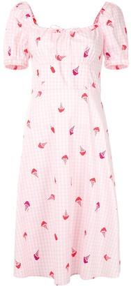 HVN Holland tie-neck midi dress
