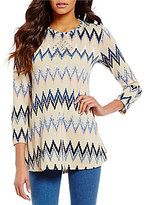 Multiples 3/4 Bungee Sleeve Print Tunic