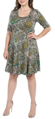 24/7 Comfort Apparel Womens Plus Size Paisley Green Elbow Sleeve Knee Length Dress
