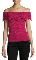 Nightcap Clothing Positano Off-the-Shoulder Lace Top, Sangria