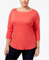 Charter Club Plus Size Cotton Boat-Neck Top, Only at Macy's