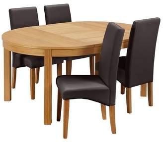 Argos Home Clifton Oak Circular Extendable Table - Chocolate