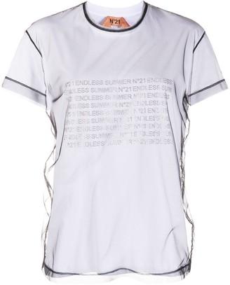 No.21 layered mesh T-shirt