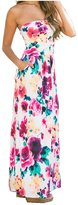 ouwoow Strapless Maxi Dress Vintage Floral Print One-piece Dress