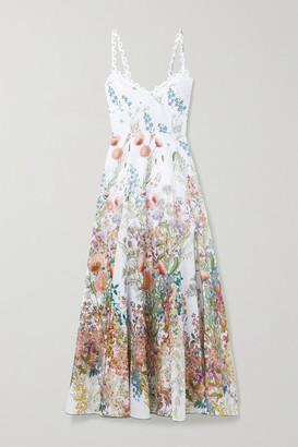 Charo Ruiz - Debbie Floral-print Cotton-poplin Midi Dress - White
