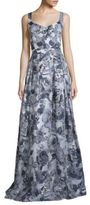 St. John Metallic Floral Gown