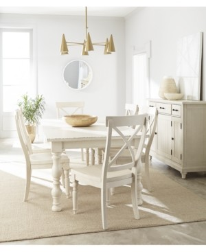 Aberdeen Worn White Expandable Dining Furniture, 7-Pc. Set (Table & 6 Side Chairs)
