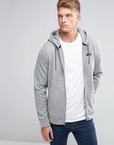 Abercrombie & Fitch Zipthru Hoodie Logo Applique In Grey