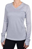 Nike Women's Dri-Fit Wool V-Neck Running Shirt-Silver-XS