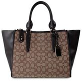 Coach Crosby Carrial Leather And Signature Jaquard Tote Bag
