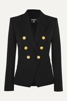 Thumbnail for your product : Balmain Double-breasted Wool-twill Blazer - Black