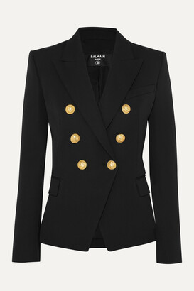 Balmain - Double-breasted Wool-twill Blazer - Black