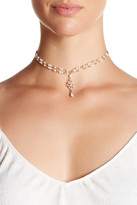 Stephan & Co Rosary Faux Pearl & Crystal Pendant Choker