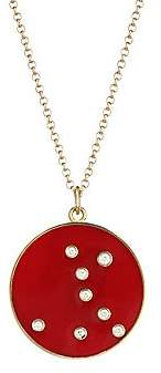 Bare Women's Constellation Pisces Diamond Enamel Pendant Gold Necklace