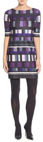 Eliza J Grid Print Ponte A-Line Dress