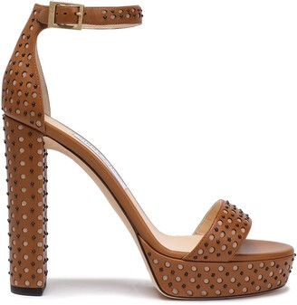 Jimmy Choo Studded Laser-cut Leather Platform Sandals