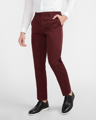 Express Slim Solid Plum Cotton Sateen Suit Pant