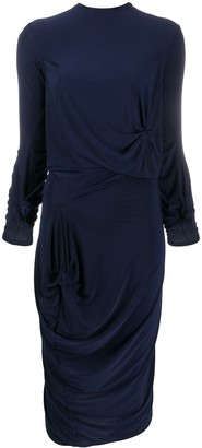 Rokh Draped 3/4 Sleeve Dress