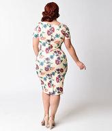 Unique Vintage Plus Size 1960s Cream & Floral Short Sleeve Stretch Mod Wiggle Dress