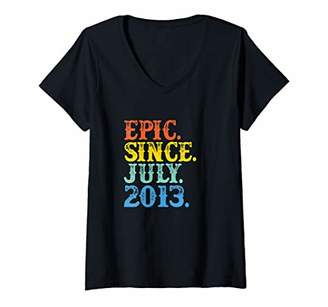 Womens Vintage Epic Since July 2013 Birth Year Born Legendary Gifts V-Neck T-Shirt