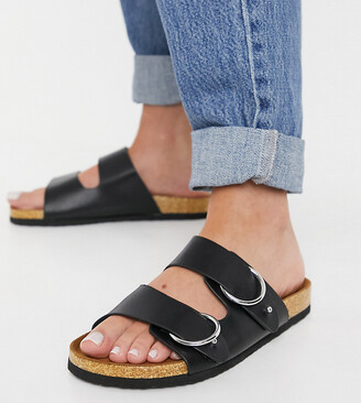 ASOS DESIGN Wide Fit Fewer double strap buckle sandals in black