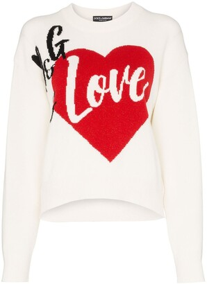 Dolce & Gabbana Is Love cashmere blend intarsia knit sweater