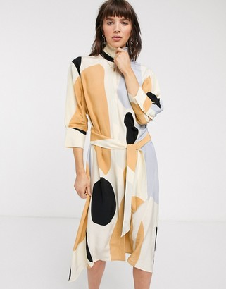 And other stories & oversized spot print belted shirt dress in beige