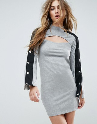 Asos Design Mini Dress With Popper Sleeve And Cut Out-Grey