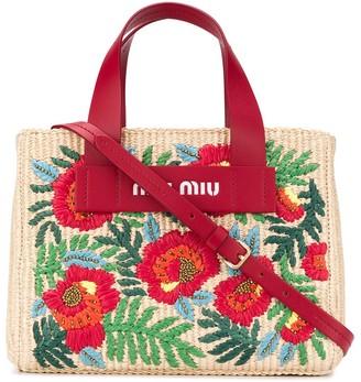 Miu Miu Floral-Embroidered Straw Tote Bag