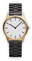 Uniform Wares C35 PVD Gold Unisex Quartz Watch with White Dial Analogue Display And Black Stainless Steel Bracelet