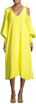 Tibi Edwardian V-Neck Frill-Trim Silk Midi Dress, Yellow