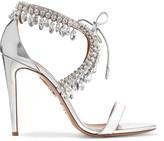 Aquazzura Milla Crystal-embellished Metallic Leather Sandals - Silver