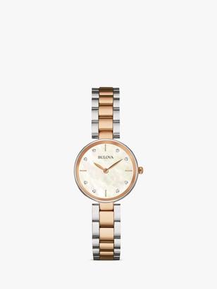 Bulova 98S147 Women's Diamond Bracelet Strap Watch, Rose Gold/Silver