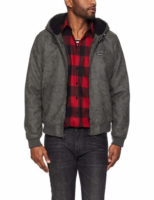 Members Only Men's Vegan Leather Hooded Bomber Jacket