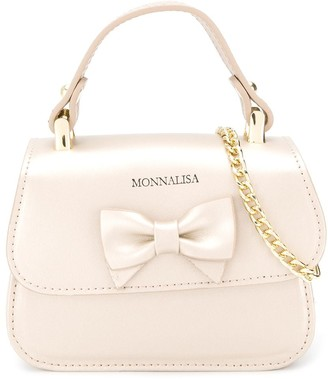 MonnaLisa Logo Embossed Bow Shoulder Bag