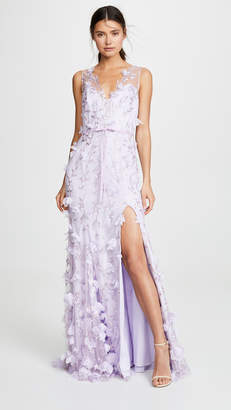 Marchesa V Neck Embroidered Gown