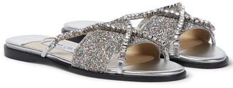 Jimmy Choo Aadi embellished glitter slides