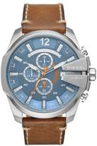 Diesel Men's Mega Chief Stainless-Steel and Brown Leather Chronograph Watch, 51mm x 59mm