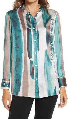 Ming Wang Abstract Print Long Sleeve Blouse